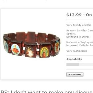 Wooden Catholic bracelet saints stretchy Miley